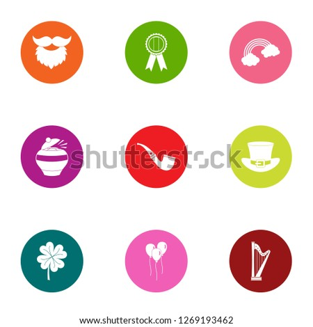 Evening leisure icons set. Flat set of 9 evening leisure icons for web isolated on white background