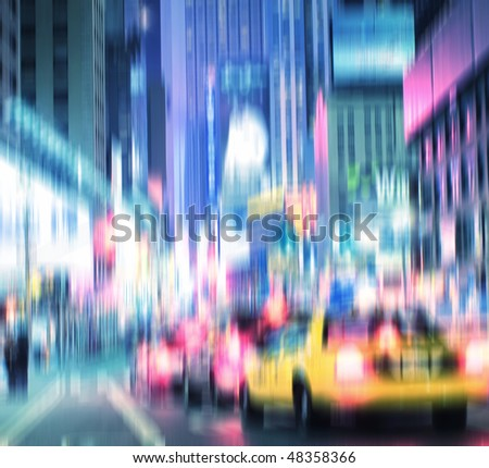 Evening life at Manhattan, New York, in motion blur and strange colors. Lots of copyspace.