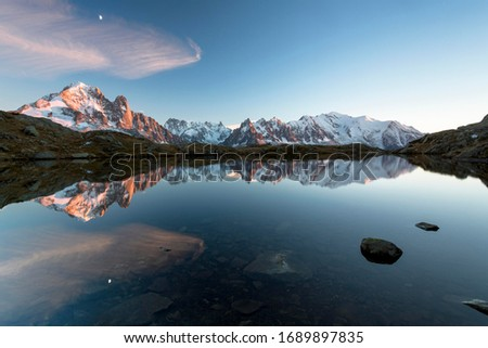 Evening light at Lac de Chésserys with mountains behind of Chamonix, Alps, France