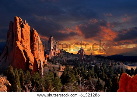Evening Light at the Garden of the Gods Park in Colorado Springs, Colorado.