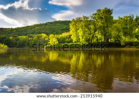 Evening light on the Delaware River at Delaware Water Gap National Recreational Area, New Jersey.