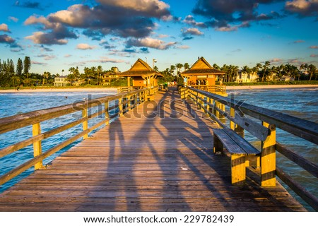 Evening light on the fishing pier in Naples, Florida.