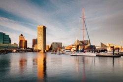 Evening light on the Inner Harbor, Baltimore, Maryland
