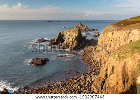 Evening light on the sea arch Ends Dodman at Lands End, Cornwall #1532907443