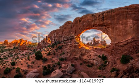 Evening light over North Window with Turret Arch in the distance, Arches National Park Utah