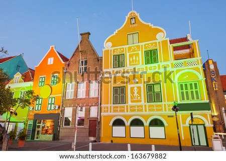 Evening lights in Willemstad, Curacao