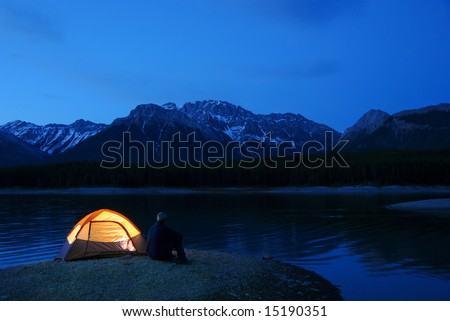 Evening lit tent in camping by nature #15190351