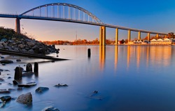 Evening long exposure of the bridge over the Chesapeake and Delaware Canal in Chesapeake City, Maryland.