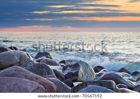 Evening on shore of the Baltic Sea.