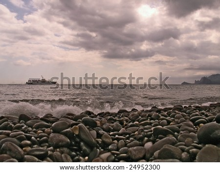 Evening on the sea - stock photo
