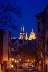 Evening on the streets of Budapest, city night lights, city nightlife