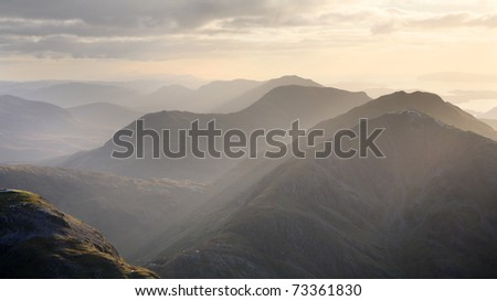Evening over the scottish highlands seen from the summit of Bidean Nam Bian, near Glencoe.
