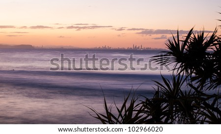Evening, over the water, view of the modern city, Queensland, Australia