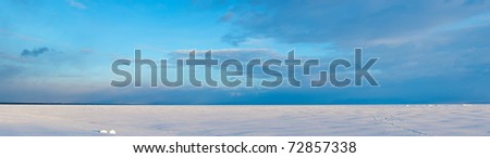 Evening panorama of Baltic sea in the winter
