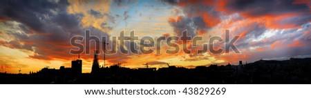 evening panorama of barcelona, catalonia, spain
