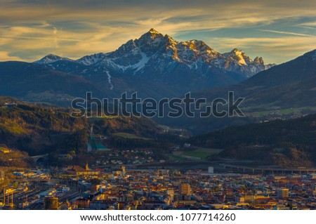 Evening panorama of Innsbruck with Serles in the background