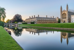 Evening panoramic view of Clare College at sunset in Cambridge, UK