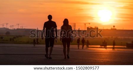 evening people city sundown panorama #1502809577