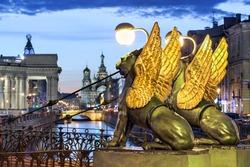Evening Petersburg during White Nights season, classic postcard view, St Petersburg, Russia