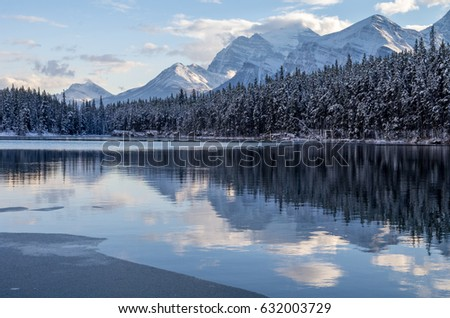 Evening Reflections of Snow Capped Mountains on Herbert Lake, Icefields Parkway #632003729