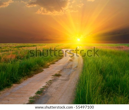 evening road in steppe to sunset