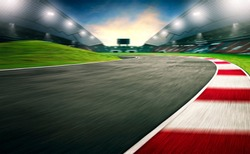 Evening scene asphalt international race track, digital imaging