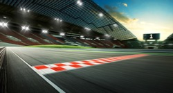 Evening scene asphalt international race track with starting or