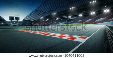Evening scene asphalt international race track with starting or end line, digital imaging recomposition background.
