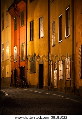 Evening scene from Gamla Stan, the Old Town of Stockholm