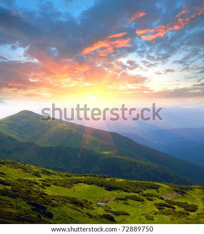 evening scene in mountains