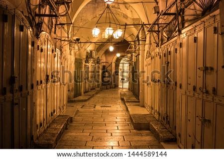 Evening scene of closed shops in Jerusalem old market #1444589144