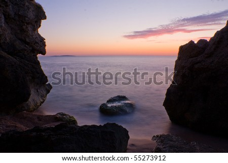 evening scene on sea after sunset
