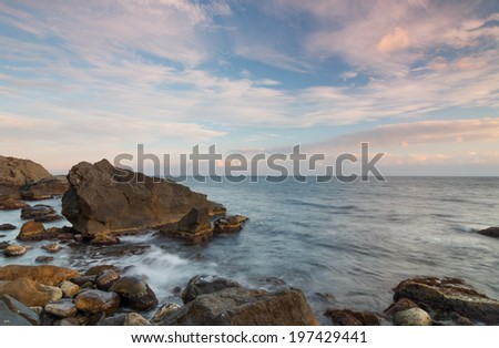 Evening sea at sunset. Crimea - Black Sea