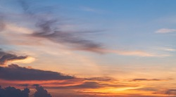 Evening Sky, Colorful Sunset Clouds Sunlight, Dusk Sky Background