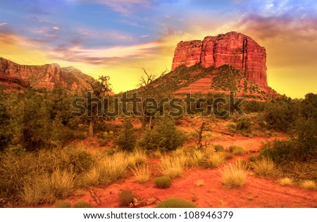 Evening sky over red rock mountains in Sedona