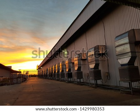 Evening sky with the factory #1429980353