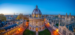 Evening skyline panorama of Oxford city in England