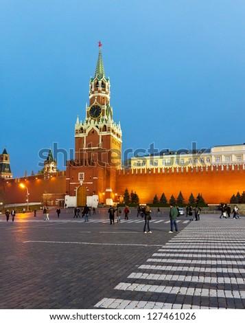 Evening, Spasskaya Tower of Kremlin, Moscow, Russia, crosswalk