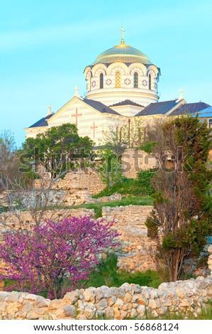 Evening St Vladimir's Cathedral church  (Chersonesos- ancient town, Sevastopol, Crimea, Ukraine)