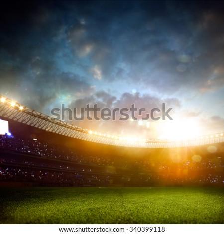 Evening stadium arena soccer field
