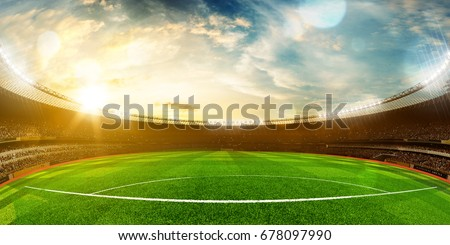 Evening stadium arena soccer field championship win . Yellow toning. Wide angle