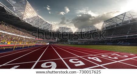 Evening stadium arena soccer field defocus background - Shutterstock ID 730017625