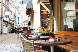 Evening street cafe in Gorinchem. Netherlands