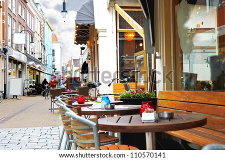 Evening street cafe in Gorinchem. Netherlands #110570141