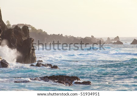 Evening sunlight at the rough coast of the canarian island Tenerife