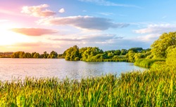 Evening sunset at calm pond and lush greenery of south bohemian landscape, Czech Republic.