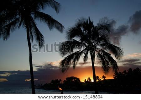 Evening sunset on the tropical Hawaiian island of Kauai