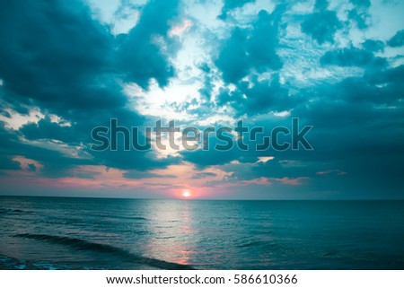 evening sunset , seascape , dusk #586610366