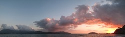 Evening sunset sky panoramic photo