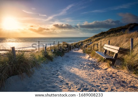 evening sunshine over bench and path to sea beach, Holland Stok fotoğraf ©